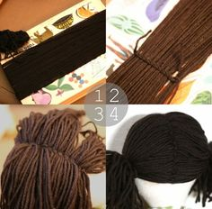 Making Doll Hair - with a simple crochet stitch - Good Cheap Idea for Halloween wigs just scale up