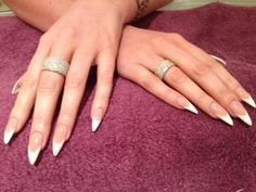 Amy Childs super-pointy, stiletto French manicure, 6 May 2014