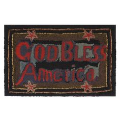 "Jeff Bridgman Antiques - Pictures for Listing # 1589 - ""GOD BLESS AMERICA"", A WOOL, PATRIOTIC, HAND-HOOKED RUG, PROBABLY 1876"