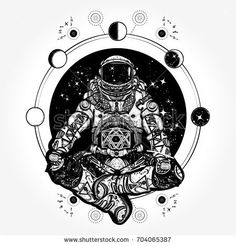 Astronaut in the lotus position tattoo art. Spaceman silhouette sitting in lotus pose of yoga tattoo. Symbol of meditation, harmony, yoga. Astronaut and Universe t-shirt design