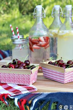 bring a cutting board on your picnic so you have a flat surface to sit drinks on when eating on the ground.