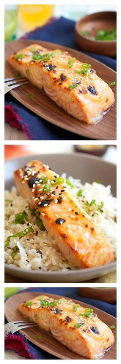 Low Unwanted Fat Cooking For Weightloss Miso-Glazed Broiled Salmon. Give Your Regular Salmon A Makeover By Adding Japanese White Miso The Same Ingredient Used In Miso Soup. You Will Love This Quick And Easy Recipe That Takes Only 15 Minutes Salmon Recipes, Fish Recipes, Seafood Recipes, Asian Recipes, Cooking Recipes, Healthy Recipes, Delicious Recipes, Cooking Tips, Gluten Free Recipes