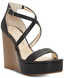 6c62b2db809 Jessica Simpson Samira Strappy Wedge Sandals Black Wedge Sandals