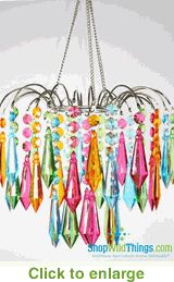 Chandelier Bejeweled Neon Colors not sure if it is for a candle, but I am thinking so...I adore shopwildthings.com