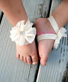 20%OFF .. Baby Barefoot Sandals .. Ivory Ballerina Flowers .. Toddler Sandals .. Newborn Sandals