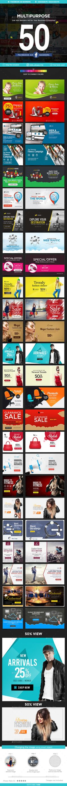 Facebook Newsfeed Ad Banner Template 50 Designs - Social Media Web Template PSD. Download here: http://graphicriver.net/item/facebook-newsfeed-ad-banners-50-designs/16709121?ref=yinkira