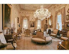 estate room in ivory with satin upholstered seating & crystal chandelier, Third Street home, New Orleans, LA