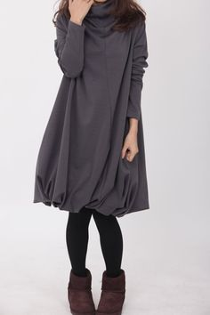 Pile collar cotton dress in Dark gray by MaLieb on Etsy https://www.etsy.com/listing/78488201/pile-collar-cotton-dress-in-dark-gray