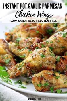 These Instant Pot Garlic Parmesan Chicken Wings are an amazing appetizer recipe! - These Instant Pot Garlic Parmesan Chicken Wings are an amazing appetizer recipe! Crispy and golden - Crock Pot Recipes, Slow Cooker Recipes, Cooking Recipes, Healthy Recipes, Free Recipes, Keto Recipes, Healthy Wings Recipe, Healthy Pressure Cooker Recipes, Pasta Recipes