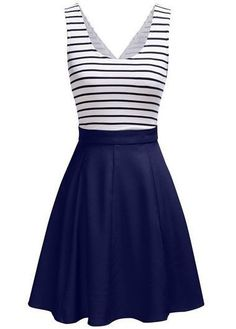 White and Navy Blue Striped Sleeveless Fit and Flare Dress