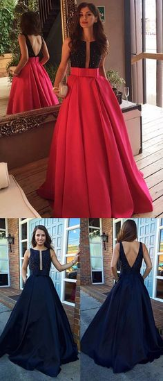 Red Prom Dresses Long, Sexy Party Dresses Princess, 2018 Formal Evening Gowns Backless Scoop Neck Satin