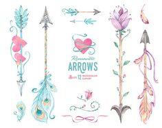 Romantic Arrows Watercolor Clipart. 12 Hand painted elements ...