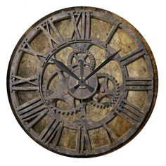 Steampunk 1 round wall clock #zazzle