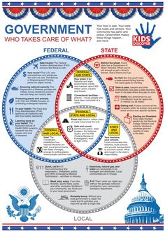 This infographic highlights the 3 levels of the U.S. Government in a simple, easy-to-read format.