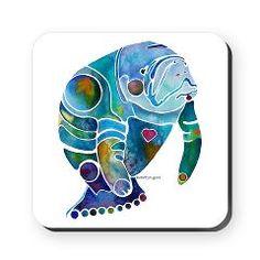 Manatees Endangered Species Square Coaster> Manatees Endangered Species> Artist Jo Lynch Whimsical Art 4 Fun