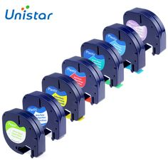 UNISTAR 7 UNIDS Compatible Dymo Letratag Cinta 12mm 91330 16952 91331 91332 91333 91334 91335 colores Mezclados Cinta para Dymo LT impresora