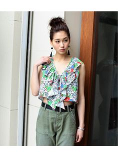 BLEED FLOWER LACE UP TOPS