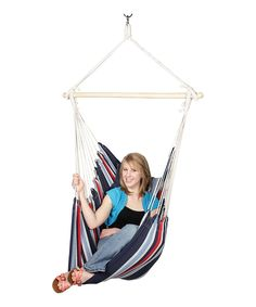 Quest Blue & Red Stripe Hanging Hammock Chair