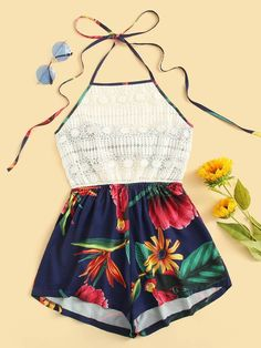 Guipure Lace Panel Bow Tie Back Floral Halter Romper selection of women's jumpsuits you can be both bohemian and classic chic just alter your accessories Jumpsuits For Women Cute Casual Outfits, Cute Girl Outfits, Teen Fashion Outfits, Cute Summer Outfits, Outfits For Teens, Stylish Outfits, Girl Fashion, Mode Rock, Jugend Mode Outfits