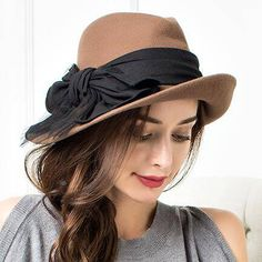 0c486415c61ae Ladies felt fedora hat with bow for winter trilby wool hats