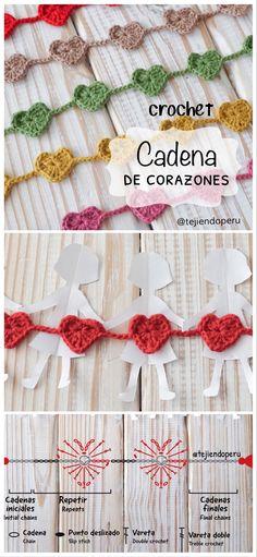 Una cadena de amor tejida a crochet 😃 Crochet Butterfly Pattern, Crochet Patterns, Crochet Projects, Lana, Knit Crochet, Crochet Necklace, Projects To Try, Knitting, Bikini