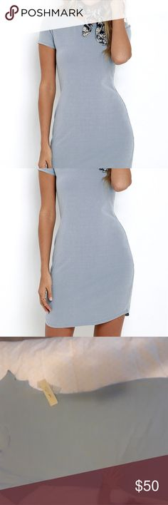 Dusty Blue T-shirt Dress Dolphin hem, T-shirt dress Dresses