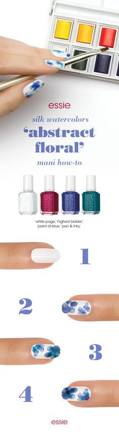 Create a beautiful 'abstract floral' mani using essie silk watercolor nail art kit. Follow this how-to and turn blank canvases into mini-masterpieces with a deep palette of sheer, blendable blues and purples.