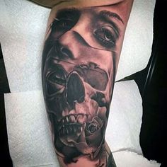 Image result for female portrait tattoo Skull