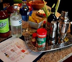 Build your own Bloody Mary Station #bloodymarybar #drinkbuffet #catering