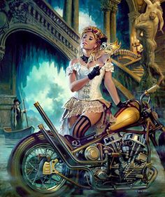 Steampunk IV: The Diva - David Uhl Custom Built Harley Davidson Bobber & Chopper Bikes Harley Davidson Kunst, Harley Davidson Motorcycles, Motorcycle Art, Bike Art, Motorcycle Girls, Art Moto, David Mann Art, Pin Up Posters, Montage Photo