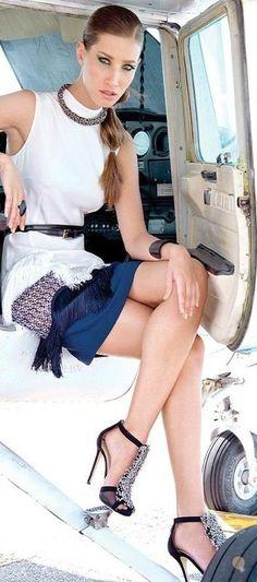 Jetsetting in Stella McCartney multicolor small wicker lace dress, Jimmy Choo embellished heels | LBV ♥✤