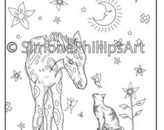 Gorgeous foal with cat under stars Horse coloring page Cute Animal Tattoos, Horse Coloring Pages, Projects To Try, Cute Animals, Collage, Horses, Black And White, Stars, Drawings