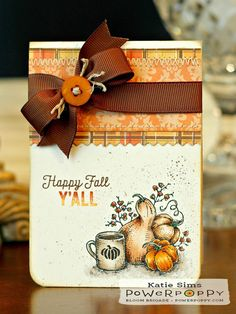 Inky Peach Designs: Power Poppy's August Stamp Release. Feeling Fall stamp set, card design by Katie Sims.