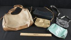 MERLE NORMAN MAKEUP BAG - SMALL GOLD LEATHER CROSS-BODY BAG - SMALL GREY KIPLING CROSSBODY BAG - GIANI BERNINI BLACK LEATHER PURSE - THE SAK WOVEN HANDBAG IN GOLD AND CREAM COLORS