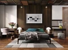 bedroom organization ideas modern alpine look dark wood lamella-wound