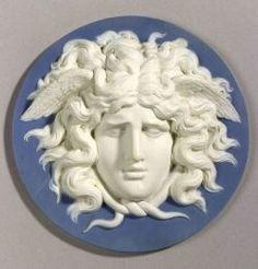 Wedgwood and Bentley Solid Blue Jasper Plaque of Medusa, England, c.1775