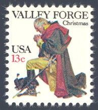 1977_10_21 $.13 A combined 1977 traditional Christmas and Bicentennial commemorative issue featuring General George Washington kneeling in prayer at Valley Forge during the Revolutionary War.: