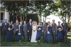 Like the navy on girls and gray on guys - think groom could be in Navy to set him apart from other guys.