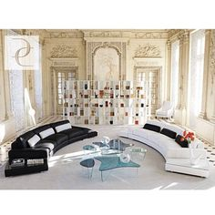 Living Room, Breathtaking Black And White Sectional Sofa Include Cushions Plus Unique Glass Coffee Table Also White Bookshelf In White Living Room Walls ~ Living Room Design: Various Ideas for Creating Better First Impression Lounge Design, Sofa Design, Canapé Design, Interior Design, Deco Design, Wall Design, Interior Ideas, My Living Room, Living Room Interior