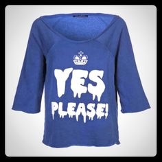 Wildfox Flashdance Yes Please! Sweatshirt M NWT Wildfox Couture Flashdance Sweatshirt in a size Medium. The color is called 'Midnight' & looks navy blue; white dripping lettering with 'Yes Please!' written on the front. It can be worn off the shoulder as shown in the second photo. Please view all photos & ask any questions you may have before purchasing     No Trades ✅Offers Considered Via the Offer Button!✅ Wildfox Tops Sweatshirts & Hoodies