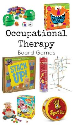 Looking for board games that challenge kids fine motor skills, bilateral coordination, visual perception, mid-range control, hand strength and SO much more? These occupational therapy board games are for you! Ot Therapy, Therapy Games, Vision Therapy, Therapy Ideas, Occupational Therapy Activities, Occupational Therapist, Fun Board Games, Kid Games, Pediatric Ot
