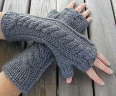 Hand Knitted Fingerless Arm Warmer Gloves by Hand Knitted Things, via Flickr