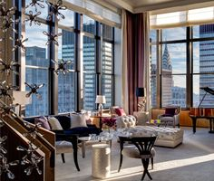 The Grand Parlor has floor-to-ceiling windows with amazing views of the Chrysler building.