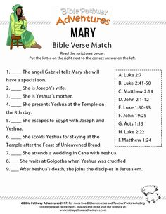 Printable bible verse match: Mary, mother of Yeshua. Free Bible Homeschool and Sunday School worksheet. Sunday School Kids, Sunday School Activities, Bible Activities, Sunday School Lessons, Church Activities, School Songs, Bible Games, Christmas Activities, Bible Study For Kids