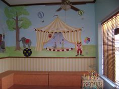circus kids room | ... and circus animals extend across the room in the patient waiting area