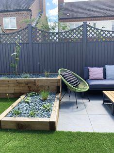 Our Garden Renovation - Katie Ellison Back Garden Design, Modern Garden Design, Backyard Garden Design, Small Backyard Landscaping, Backyard Patio, Small Back Garden Ideas, Small Garden Layout, Terraced Backyard, Patio Edging