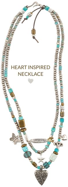 Heart Inspired Leather Necklace - The two-strand necklace fastens with a hook and eye clasp and the length is 17 - 19 inches.Basic Instructions - Fold the leather cord in half creating a two strand necklace. String the hook end of the c...