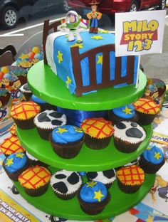 Toy story cupcakes: I used this as the inspiration for my cupcake tower for my son's 2nd birthday party. Rather than using fondant I used mini chocolate chips.