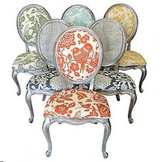 Silver Eclectic Dining Chairs French Louis XVI by Heather Rudd Throne Upholstery