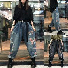 Retro Printed Loose Denim Pants Denim Fashion, Fashion Pants, Denim Pants, Harem Pants, Loose Pants, How To Look Better, Thighs, Pants For Women, Printed